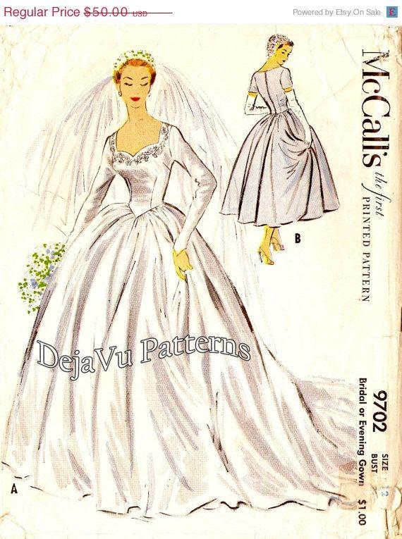 SALE McCalls 9702 1950s Bridal Gown Wedding by DejaVuPatterns, $45.00
