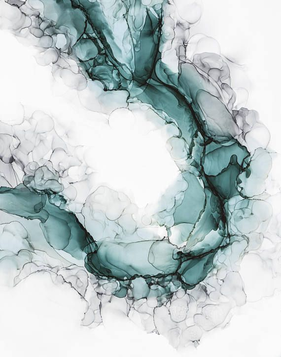 """""""Study in Teal"""", original alcohol ink painting by Kristy Swanson"""