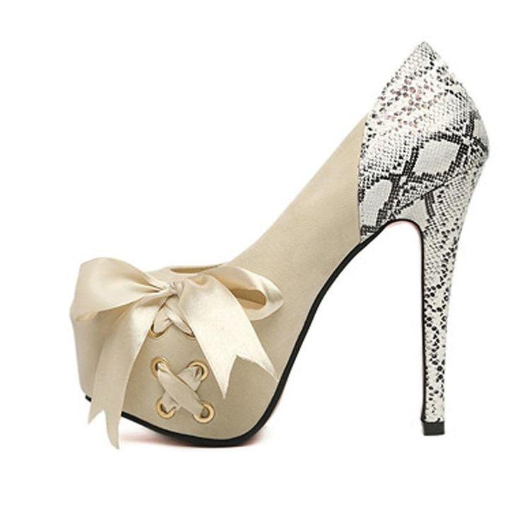 Pas cher Dames mode serpent motif Ultra talons hauts taille 14 cm pompes nouveau Style dames Sexy Lace Up bout rond de soirée haute talons chaussures 46, Acheter  Ballerines pour femmes de qualité directement des fournisseurs de Chine: