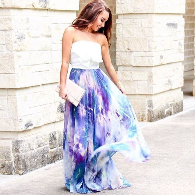 Final days of summer? I choose my favorite maxi skirt! How about you? #chicwish knot buster top (sku: T20160621007) and watercolor maxi skirt (sku: B20160422021) #chic #girly #girl #style #fashion #sale #shop #maxi #maxiskirt #watercolor #violet #purple #floral #floralskirt #beautiful #pretty #ootd #outfit #summer