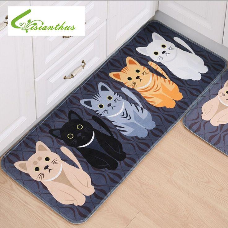 New Kawaii Welcome Floor Mats Animal Cute Cat Print Bathroom Kitchen Carpets…