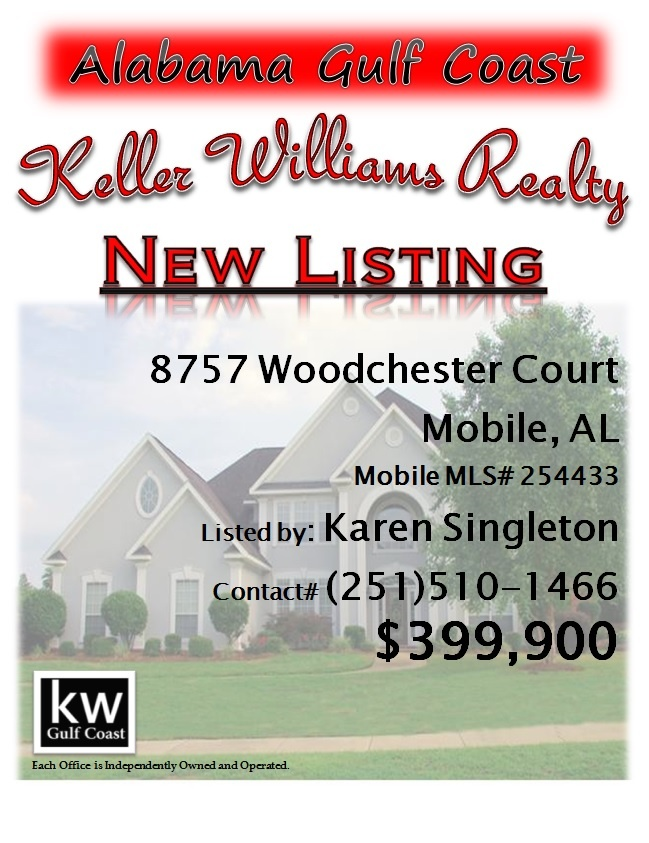 8757 Woodchester Court, Mobile, AL...MLS# 254433...$399,900...Style, elegance. comfort and so livable. Large master bedroom suite, located downstairs, 3 other bedrooms &  bonus room are located upstairs. The living room & dining room have beautiful hardwood floors, & the kitchen is newly updated with granite counter tops. Located on a cul-de-sac this home enjoys a large fenced back yard & gorgeous & inviting pool area (with cool-crete surround). Contact Karen Nicholson Singleton at…