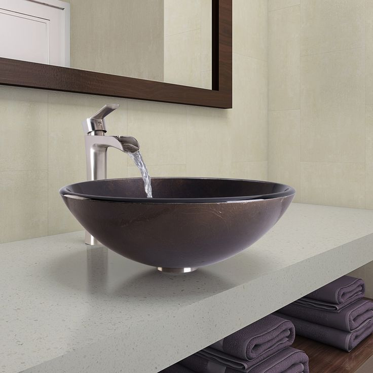 Sintra Glass Vessel Bathroom Sink and Niko Faucet Set in Brushed Nickel Finish
