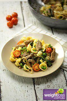 Grilled Beef & Tomato Pasta Recipe. #DietRecipes #HealthyRecipes #BeefRecipes weightloss.com.au