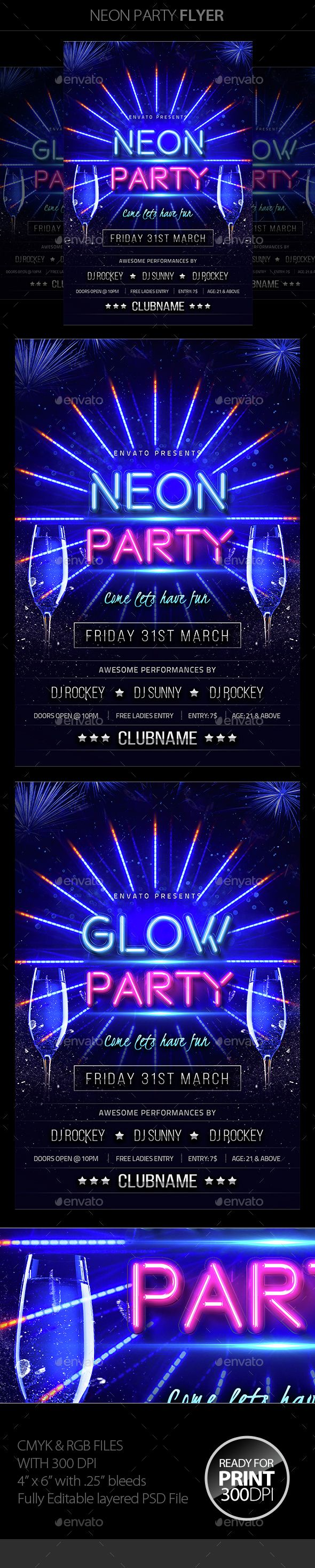 Neon Party Flyer Template PSD. Download here: http://graphicriver.net/item/neon-party-flyer/14993126?ref=ksioks