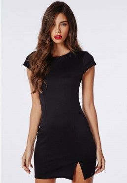 Ponte Side Split Bodycon Dress Black