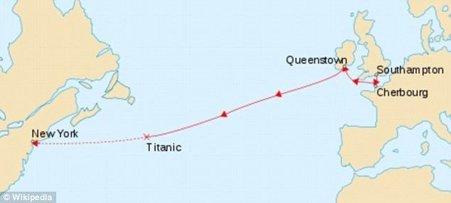 This map shows the path of the Titanic when it sank and fell to the ocean floor on its way to New York