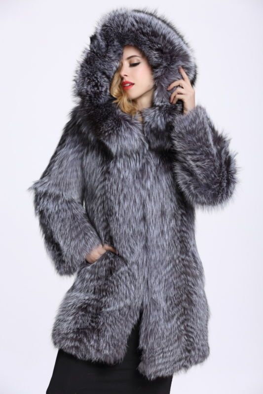 Women Lady 100% Real Genuine Silver Fox Fur Warm Waistcoat Jacket Coat C0002