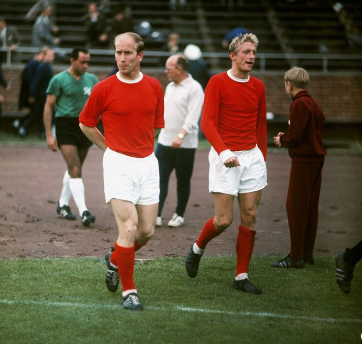 Bobby Charlton and Denis Law, mid-1960s.