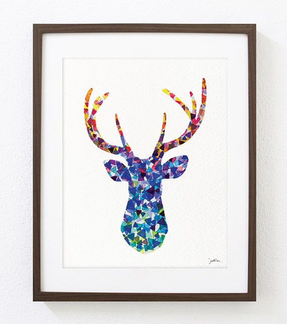 Deer Art Watercolor Painting - 8x10 Archival Print - White-tailed Deer Print - Violet and Blue Deer Silhouette