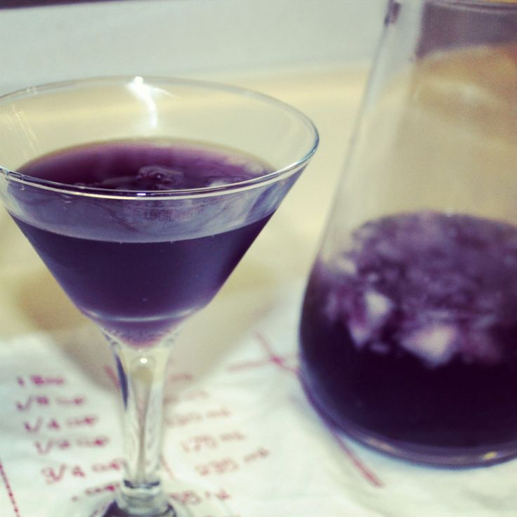 """Bleed Purple"" - perfect purple cocktailBleed Purple (single serving) 3 oz Vodka 1 1/2 oz Cranberry cocktail 1/2 oz Blue Curacao liqueur 1/2 oz sour mix 1/2 oz of lemon lime soda (7-up or Sprite) or Champagne for an extra kick"