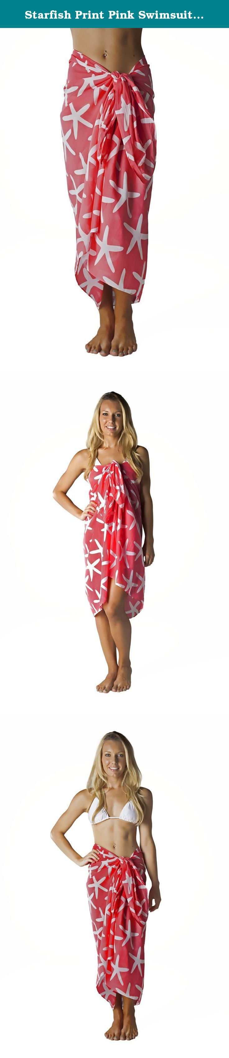 Starfish Print Pink Swimsuit Sarong Cover up in Cotton. This 100% cotton sarong has an all over starfish print in pink and white. This large rectangle can be worn long, folded to be shorter, or as a dress. Fashion tip: Parts of the print are lighter in color and may have some see-thru effect. Like a cotton t-shirt, it is not completely 100% solid. Fit Guide: All of our sarongs offer the width and length in inches. When measuring for your sarong, base the fit on the widest area of your…