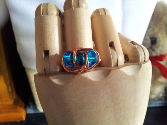 Copper Wrapped Sea Blue Ring by TrishandJude on Etsy, $20.00