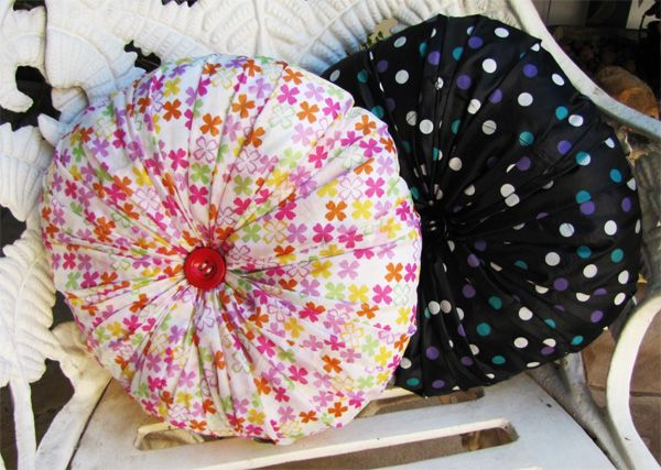 Create a water proof pillow from a broken umbrella