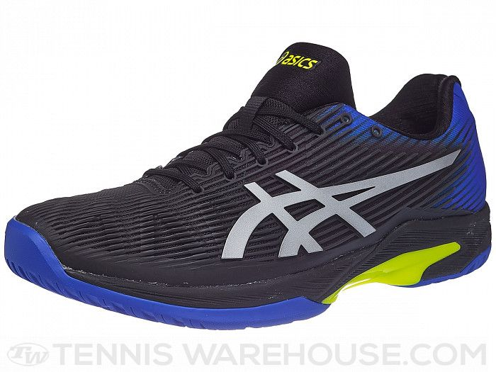 Asics Solution Speed Ff Black Blue Yellow Men S Shoes Black Shoes Men Best Mens Tennis Shoes Men Shoes Size