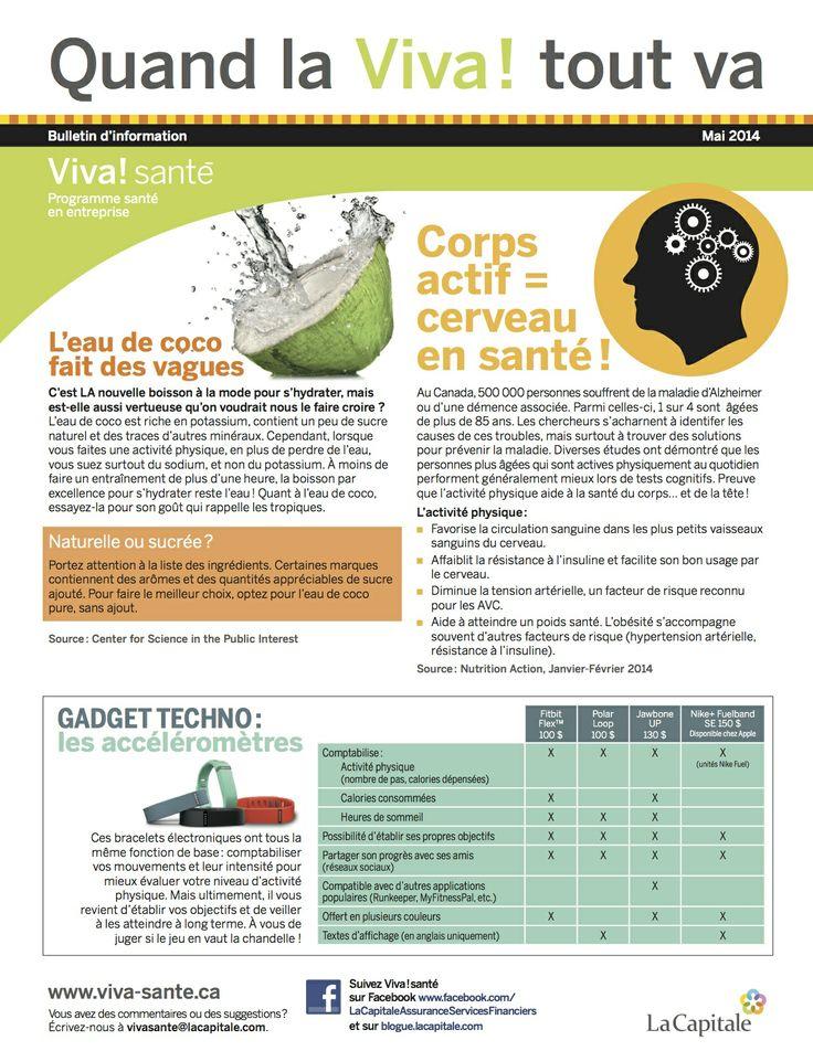 Bulletin Viva! Santé mai 2014 VIVA Programme santé en entreprise est un programme clé en main, répondant aux besoins des employeurs en matière de prévention, de promotion de la santé et du mieux-être. Composez le 1 844-559-8482 (VIVA), écrivez à viva@lacapitale.com ou visitez http://viva.lacapitale.com/fr