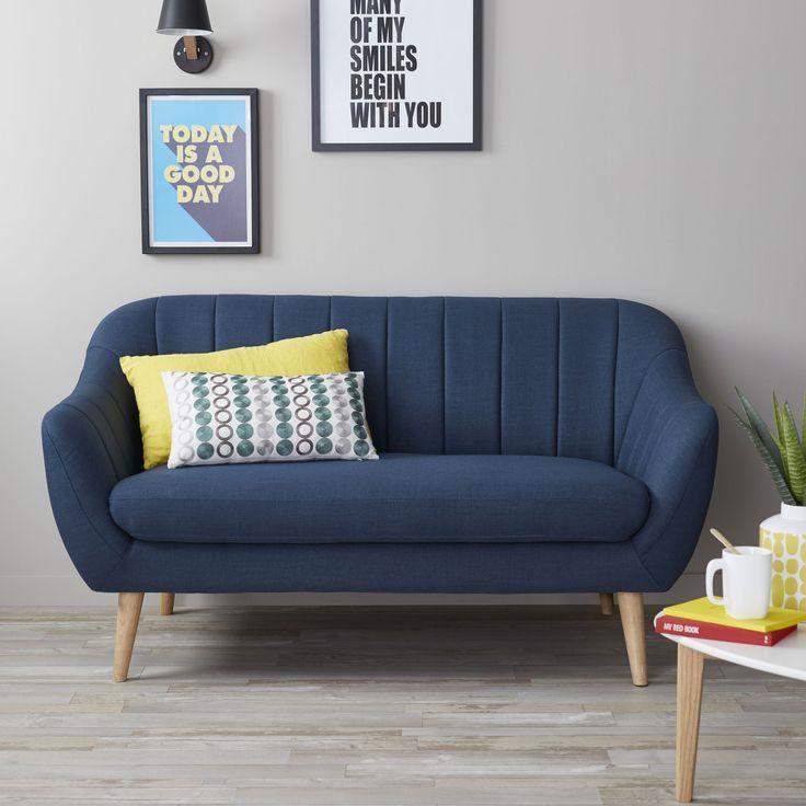 Gros coup de coeur pour ce canapé Alinéa!!! Shell - Canapés en tissu-Canapés, Banquettes Canapé 2 places fixe en tissu bleu foncé