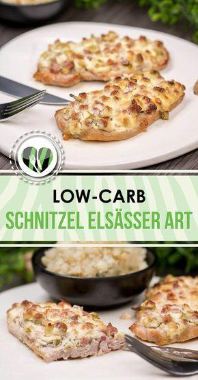 Das Schnitzel Elsässer Art ist low-carb, glutenfrei und super lecker. Es schmeckt zudem am besten mit Gemüse und Salat.