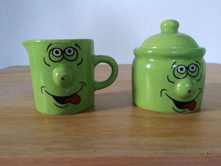Creamer Sugar Bowl Set Funny Face Emoticon 3D Protruding Nose Green