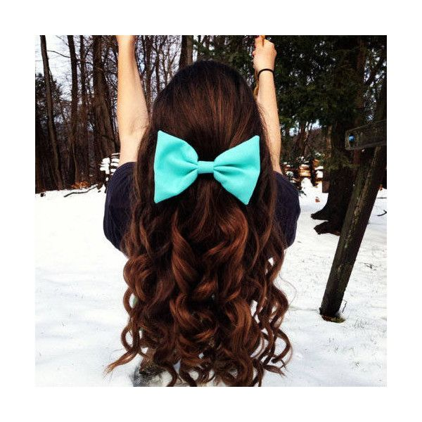 Long curly hairstyle with bow liked on Polyvore Check out this website