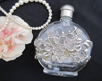 Botella de aroma de perfume Vintage bronce dorado de filigrana de estilo Art Nouveau plateado