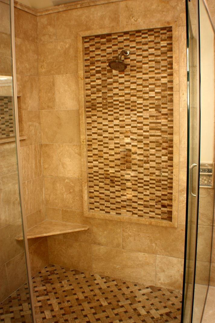Travertine shower with water feature wall  Tile Work
