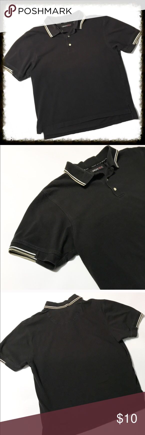 Perry Ellis Black Polo Shirt Size Large Perry Ellis Black Polo Shirt. In good condition with normal signs of wash and wear. No stains. Perry Ellis Shirts Polos