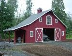 Modern Red Nuance Of The Wooden Pole Barn Kits For Sale That Can Be Decor With Grey Roof Can Add The Beauty Inside The Modern House Design Ideas That Nice