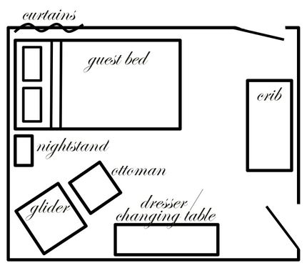Trying to figure out if the guest room that will be the baby room will function as both or just a nursery. Here's a layout idea.