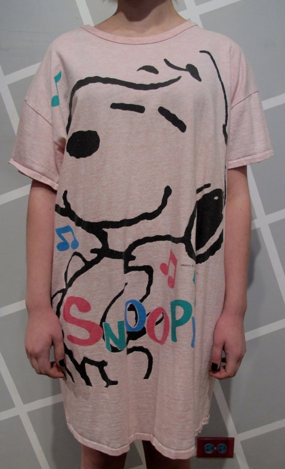 80s Light Pink Snoopy T Shirt Dress by kokorokoko on Etsy, $24.00