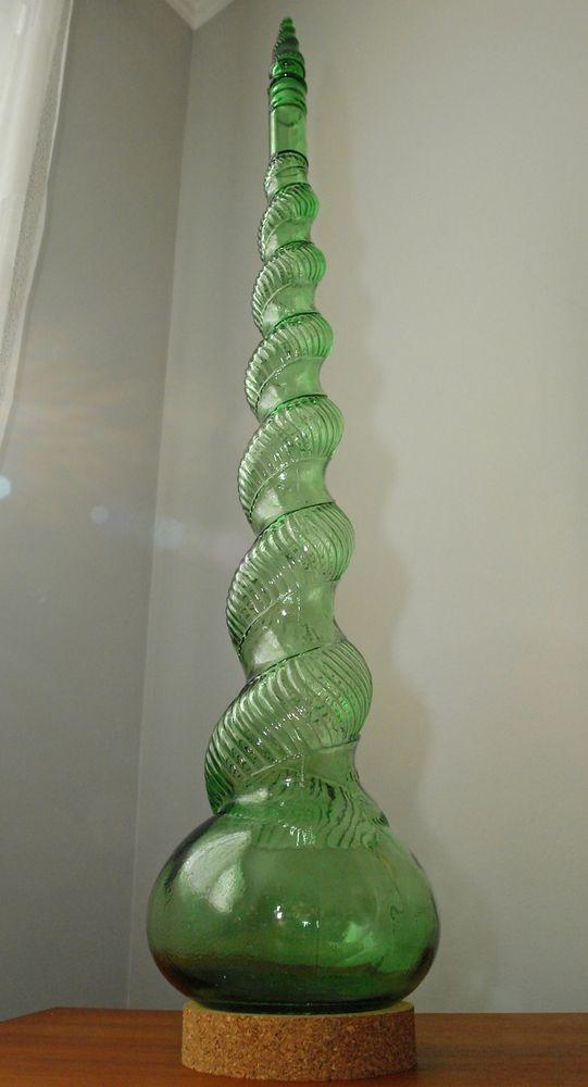 "60's Italian Empoli Green Glass Decanter Genie Bottle Stopper Stand Base 36"""