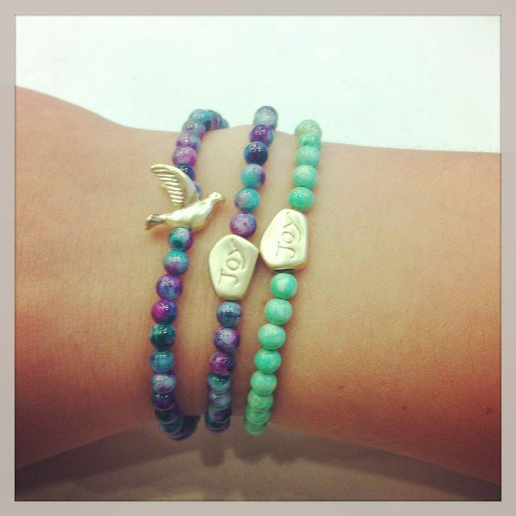 Charm Bracelets with jasper stones.  www.etsy.com/shop/kaczdesigns.com