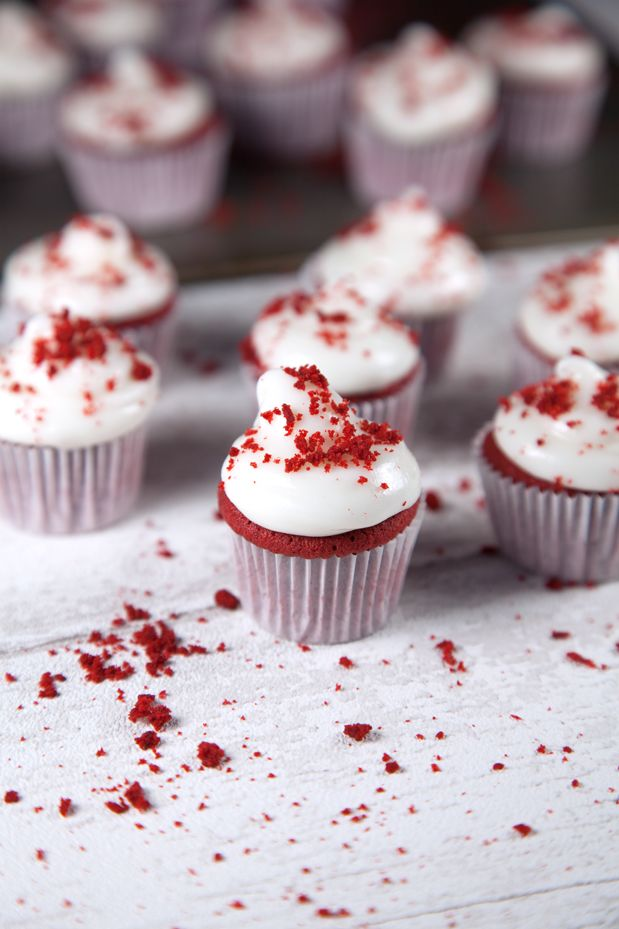 WOW. Mini red velvet cupcakes with cream cheese frosting
