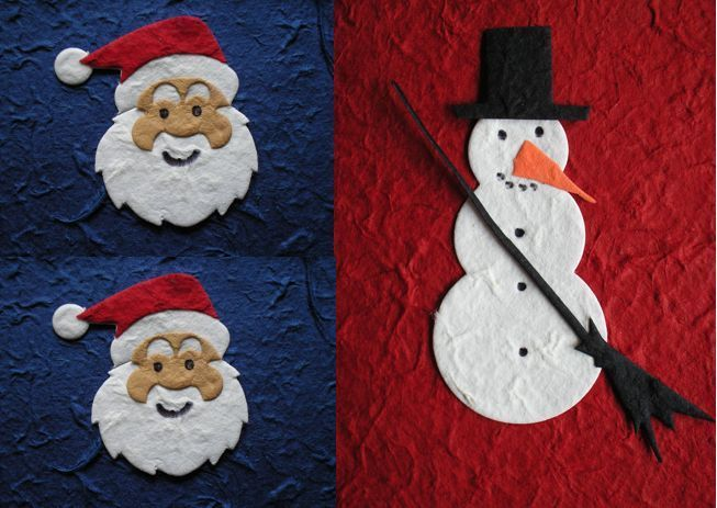 50 CHRISTMAS TOPPER SETS santa or snowman EASY TO USE TOPPERS mulberry paper NEW