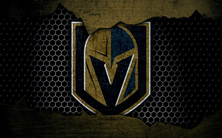 Download wallpapers Vegas Golden Knights, 4k, logo, NHL, hockey, Western Conference, USA, grunge, metal texture, Pacific Division