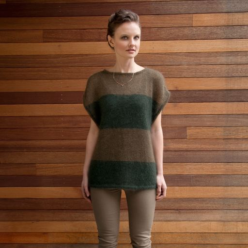 Silk Cloud held double knits up into a plush yet practically weightless fabric, perfect for this gauzy, draping pullover. Contrasting...