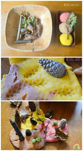Autumn play dough and loose natural parts :: Wings and Roots