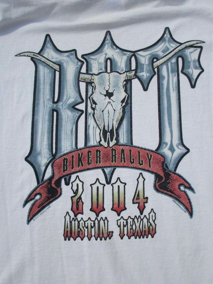 Republic of Texas Biker Rally Austin TX 2004 ROT White T-Shirt Motorcycle Sz L #Texas #GraphicTee