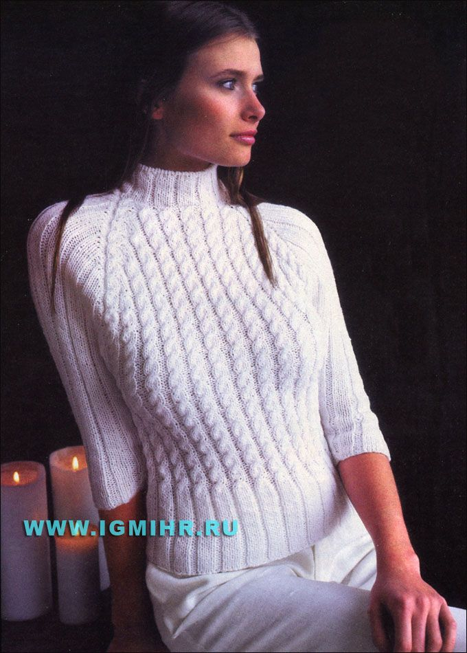 """Белый свитер-реглан со жгутами  """"Снежный вихрь"""". Спицы"""
