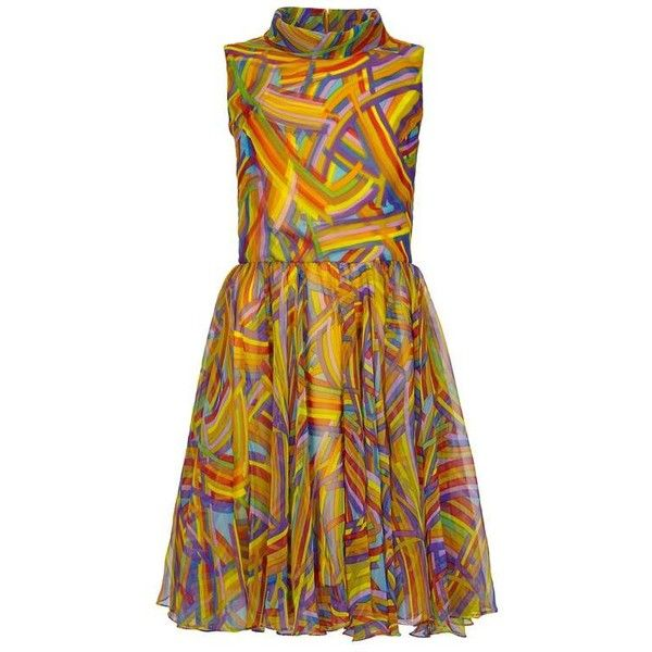 Preowned 1960s Jack Bryan Multi-coloured Chiffon Dress ($475) ❤ liked on Polyvore featuring dresses, brown, brown vintage dress, zipper dress, multi-color dress, brown dress and multi color dress