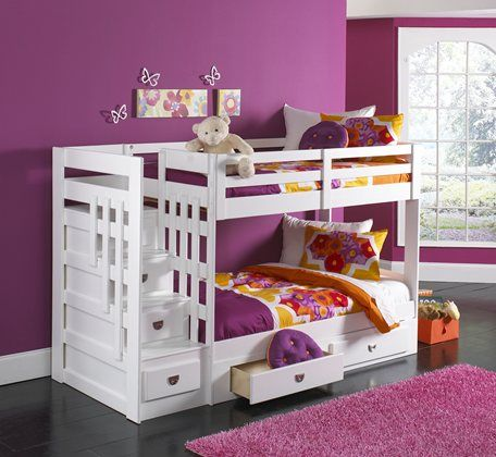 Kane 39 S Furniture Ponderosa White 4pc Twin Twin Steps Bunk Bed For The Home Pinterest