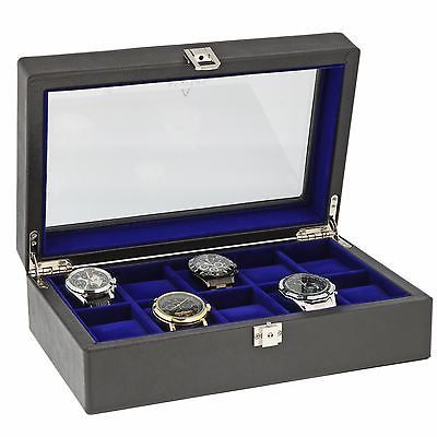Black Genuine Leather 10 Watch Collectors Box with Blue Liniing by Aevitas *    * About Us  * Payment  * Delivery  * Returns  * Contact Us  Show Menu * Watch Boxes  * Watch Winders  * Jewellery Boxes  * Stackers  * Gifts For Him  * Gifts For Her  * Other Items   *   *   *   *   *    *   *   *   *   *   BLACK GENUINE LEATHER 10 WATCH COLLECTORS BOX WITH BLUE LINIING BY AEVITAS Product Details:  Superb Quality and Design, the luxury look of this Black Genuine Leather watch box is just perfect…