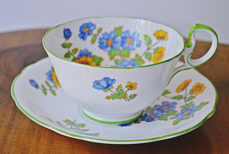 Excited to share the latest addition to my #etsy shop: Aynsley Teacup And Saucer, 1930's Cup And Saucer, Blue And Yellow Floral Teacup #housewares #white #christmas #vintageteacup #floralteacup http://etsy.me/2BBCb8Q