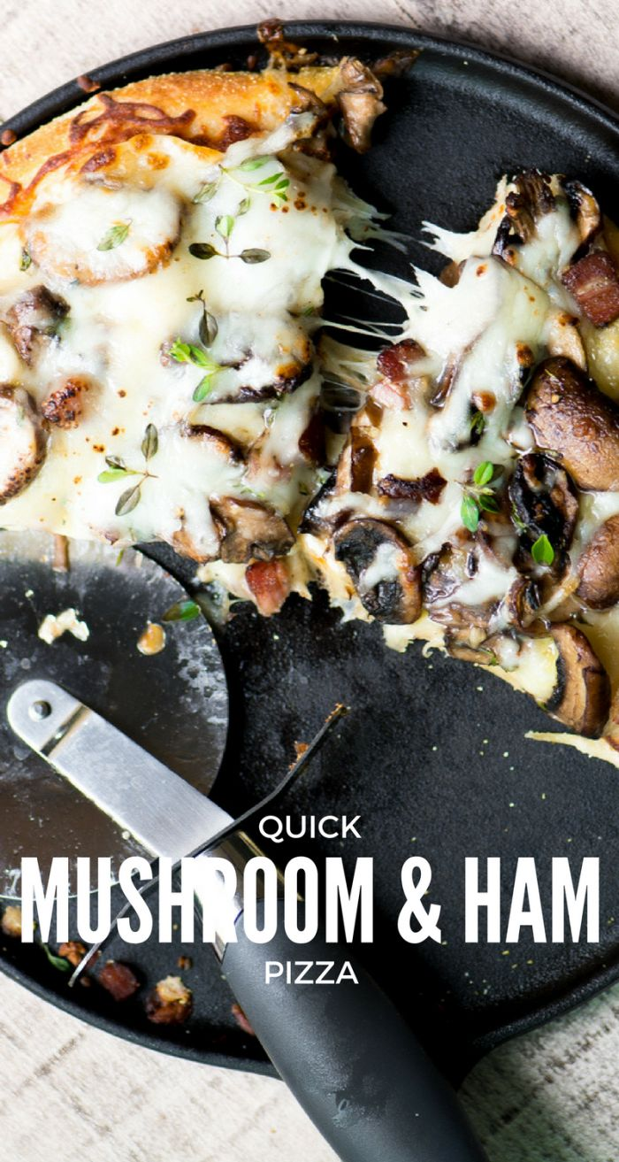 QUICK AND EASY HOMEMADE MUSHROOM AND HAM PIZZA ~ MADE WITH REFRIGERATED DOUGH! ~ theviewfromgreatisland.com