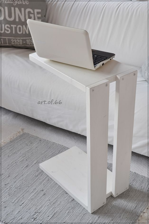 Side table for the sofa made of old pallet boards, upcycling idea: laptop tabl …
