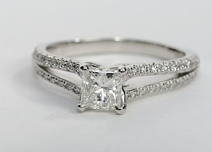 double band engagement rings | ... -Shank Princess Cut Diamond Engagement Ring | Engagement Ring Wall
