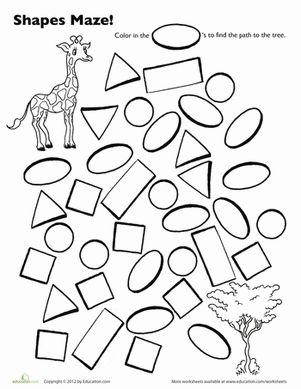 Giraffe Shape Maze Worksheet