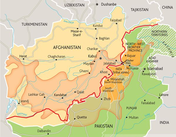 "How the colonial ""Durand Line"" set up Afghanistan's conflict: The orange overlay shows where an ethnic group called the Pashtun lives. In the 1800s a British colonial officer named Durand negotiated the border between the British Indian Raj and the quasi-independent nation of Afghanistan across the Pashtun areas, thus guaranteeing decades of conflict by forcing Pashtuns to be minorities in both states. Many Pashtun now belong to or support a mostly-Pashtun extremist group called the Taliban."