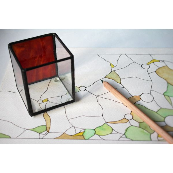 Red glass pencil holder for desk, Industrial office desk storage,... (€17) via Polyvore featuring home, home decor, office accessories, colored pencil holder, red office accessories e glass pen holder