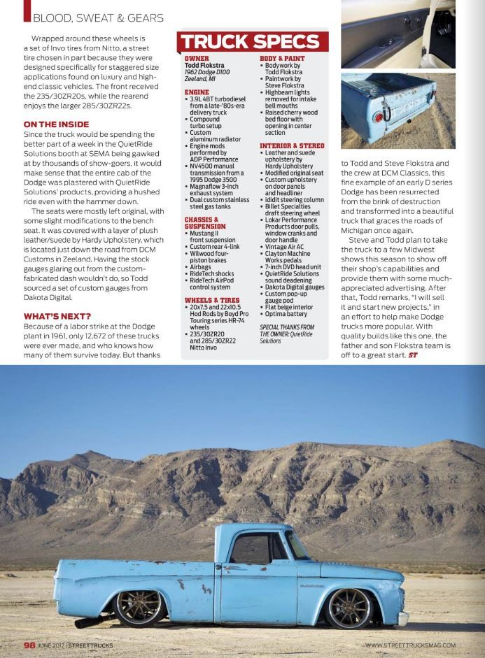 1962 Dodge D100 Pickup Truck Build Covered In Street Truck Magazine The Resurrection Old Dodge Trucks Dodge Trucks Classic Trucks